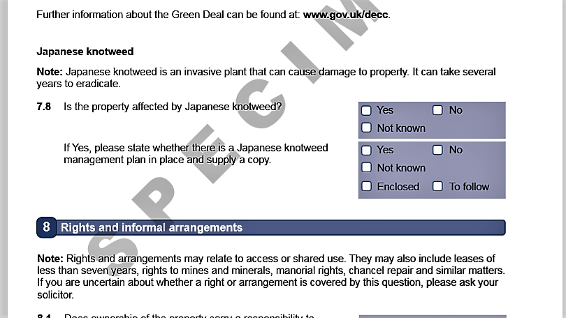 Clause about Japanese Knotweed on insurance or mortgage loan documents